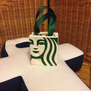 Starbucks ceramic tote bag ornament decoration NWT